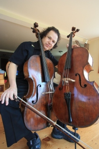 The cellist Matt Haimovitz with a Bohemian cello from 1770. Photo by Stephen Woolf